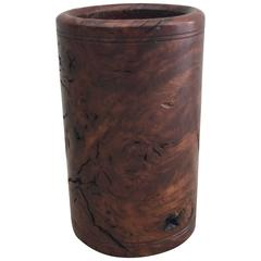 1920s Burl Wood Pen Cup or Pencil Holder