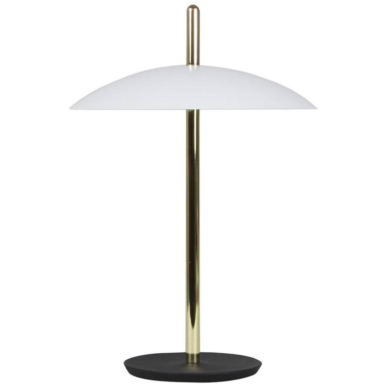 Customizable Signal Table Light from Souda, White x Brass, Made to Order For Sale