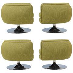 Set of Four Joseph D'Urso Swivel Telescoping Cocktail Club Chairs
