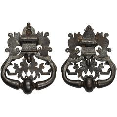 Fabulous Pair of Large Italian Iron Door Knockers