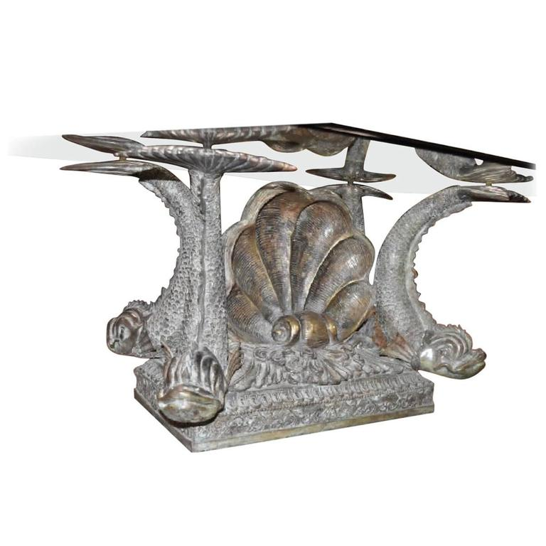 Bronze Neoclassical Coffee Table with Dolphin and Shell Details and Glass Top