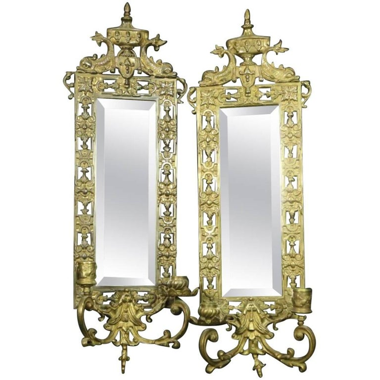 Wall Sconces Beside Mirror : Brass and Mirror Candle Wall Sconces in Neoclassical Design with Dolphins For Sale at 1stdibs