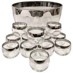 Mid-Century Dorothy Thorpe Sterling Silver Overlay Drinks 13 Piece Set