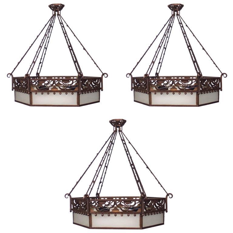 Three Art Deco Wrought Iron Chandeliers