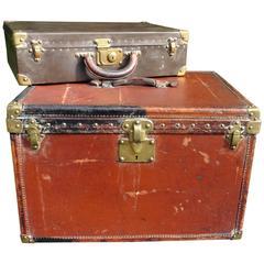 Two Original Louis Vuitton, Orange Steamer Trunk and Vuitton Hard Suit Case