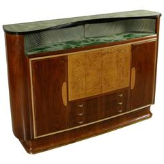 Bar Cabinet Rosewood Veneer Back-Treated Glass Brass Vintage, Italy, 1950s