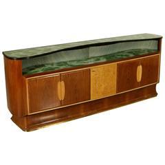 Sideboard Attributed to Produzione Dassi Rosewood Veneer Brass Vintage, Italy