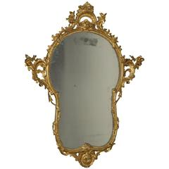 Elegant Mid-18th Century Baroque Carved and Gilded Wooden Mirror Frame