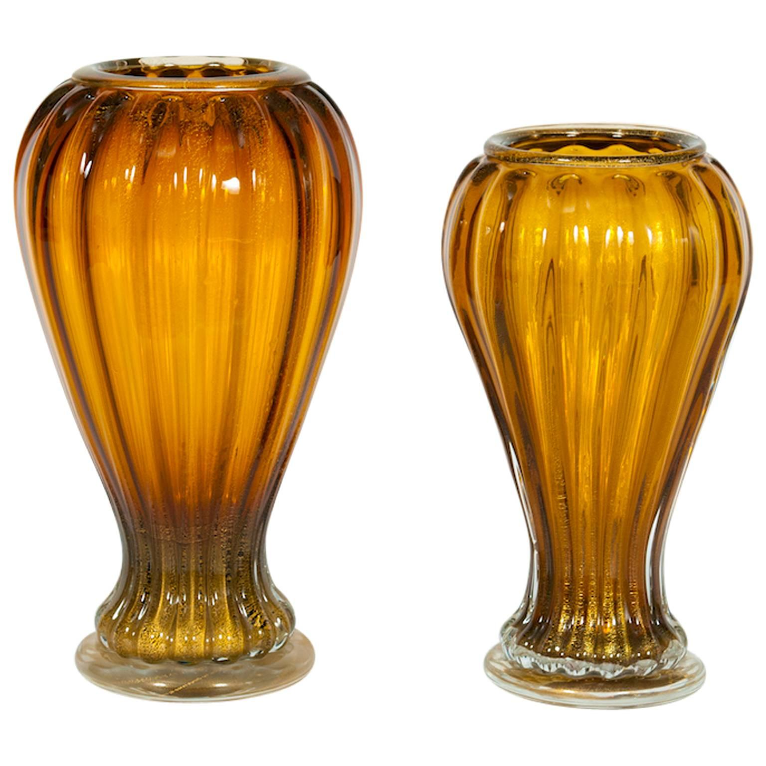 Pair of Italian Vases in Murano Glass Amber and Gold 1990s