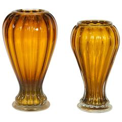 Pair of Italian Vases in Murano Glass, Amber and Gold, 1990s