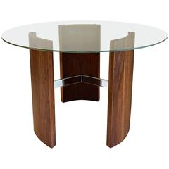 Mid-Century Modern Vladimir Kagan Radius Walnut and Chrome Cocktail Table