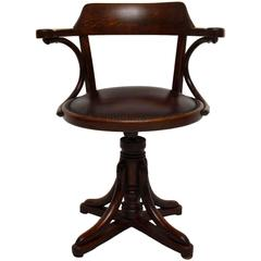 Antique Bentwood and Leather Desk Chair by Thonet
