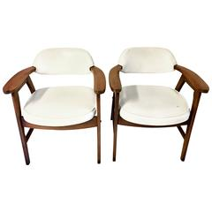 Pair of Mid-Century Modern Jerry Johnson Style Upholstered Armchairs