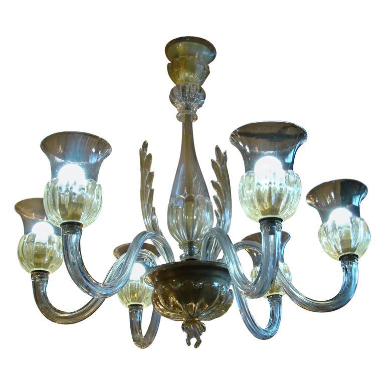 1950s Italian Light Murano Art Glass Chandelier by Seguso for Veronese