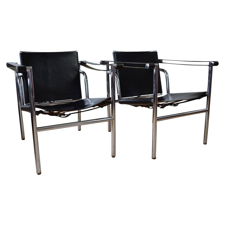 Genial Chrome And Leather Sling Chairs For Sale