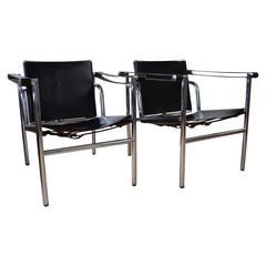 Chrome and Leather Sling Chairs
