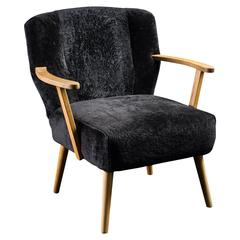 Alpina Armchair with Black Shearling Upholstery