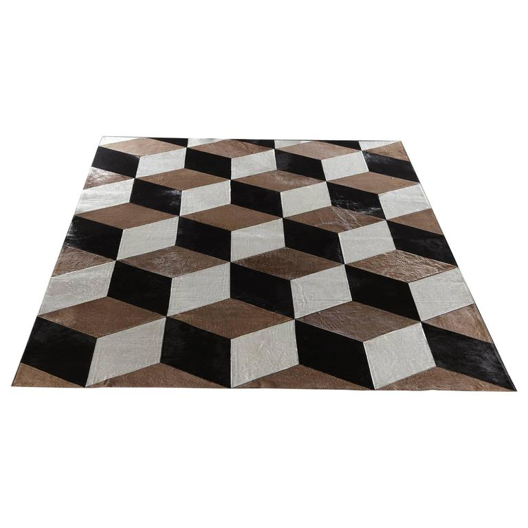 "Hair-on-Hide Rug ""Milan"" - Natural White, Taupe and Black 1"