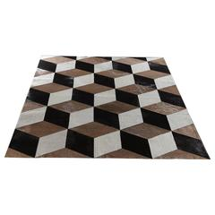 "Hair-on-Hide Rug ""Milan"" - Natural White, Taupe and Black"