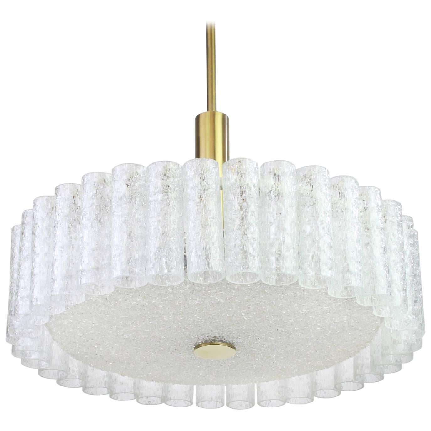 Large Murano Ice Glass Tubes Chandelier by Doria, Germany, 1970s