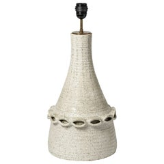 Ceramic Lamp by Accolay with White Glaze Decoration, circa 1970