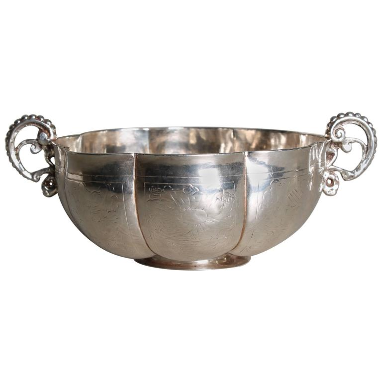 17th Century Swedish Baroque Brandy Bowl Silver For Sale