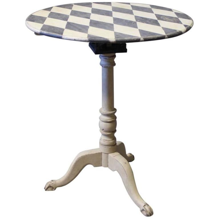 Grey Painted Lamp Or Side Table With Checkered Surface