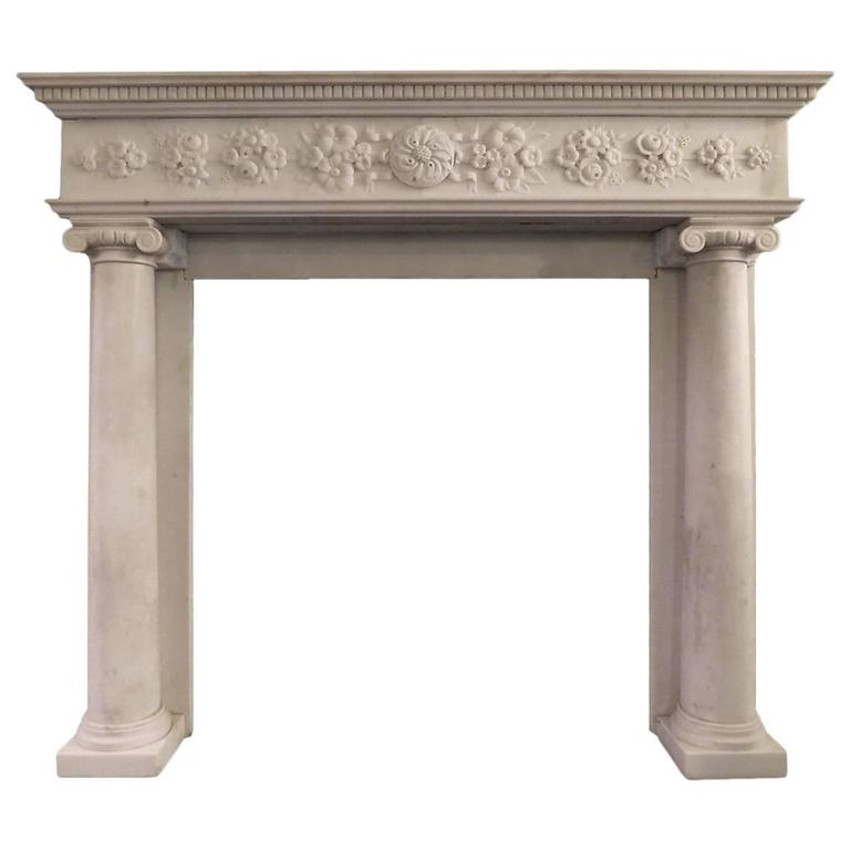 Regency statuary white marble fireplace mantel for sale at for Marble mantels for sale