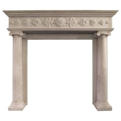 Regency Statuary White Marble Fireplace Mantel