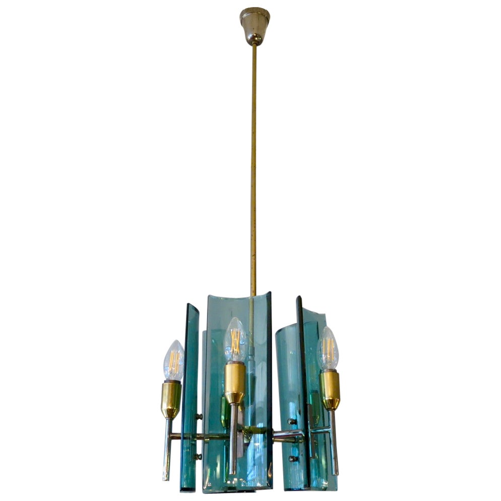 Italian Brass and Glass Pendant by Cristal Arte