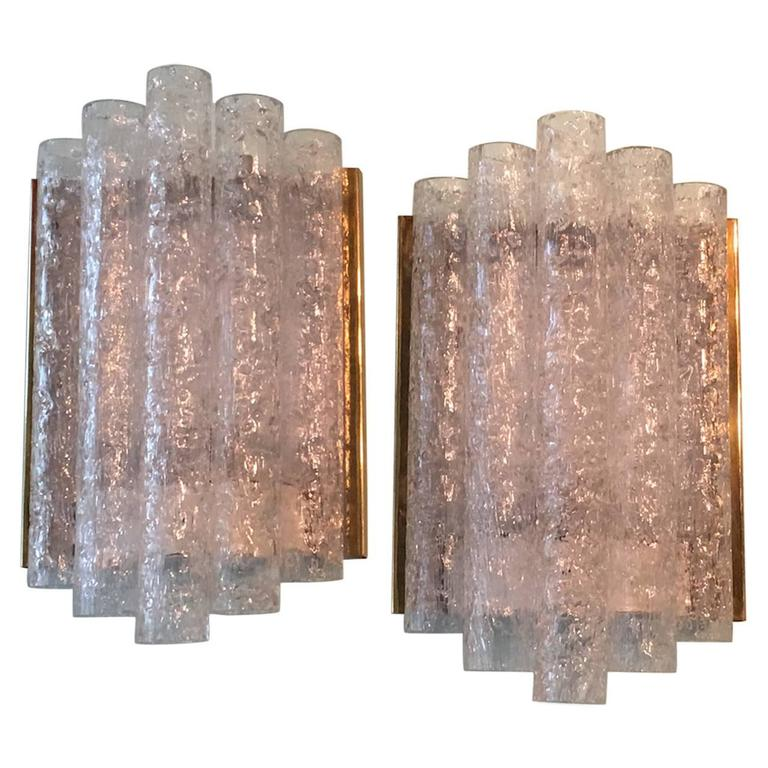 Pair of Brass Ice Glass Wall Sconces by Doria, Germany