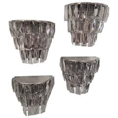 Lot of 4 Vintage Crystal Sconces with Faceted Elements