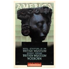 Original London Underground Poster America Maya Sculpture at the British Museum