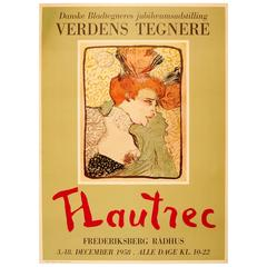 Vintage Art Exhibition Poster Featuring an Image by Toulouse Lautrec