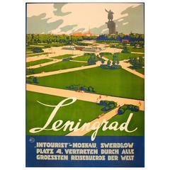 "Original Soviet Intourist Travel Poster, ""Leningrad 'St Petersburg'"", Russia"
