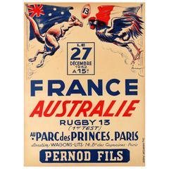 Rare Original Vintage Sport Event Poster, France Vs. Australia Rugby Test Match