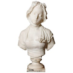 French Antique Marble Bust of a Maiden by Eugène Laurent