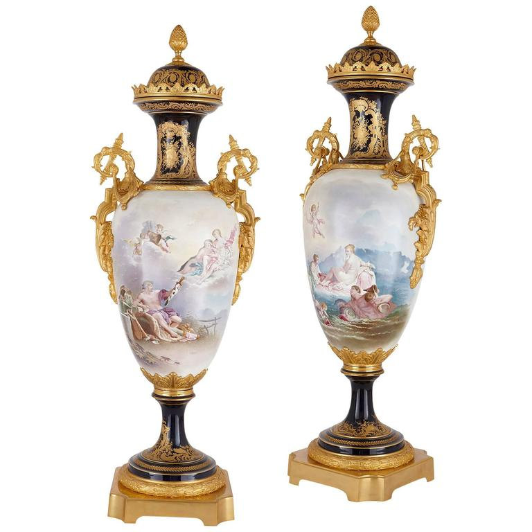 Pair Of French Ormolu And Svres Porcelain Antique Vases At 1stdibs