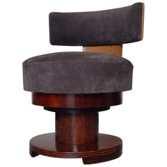 Elegant Art Deco Dressing Chair Grey Nubuc  Leather Rose Wood and Maple Eye