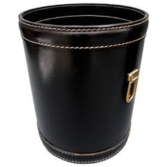 Black Leather Mid-Century Modern French Trash Can