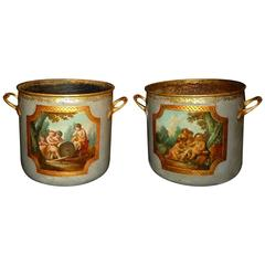 Pair of Rare French Louis XV Period Lacquered Wine Coolers, circa 1760