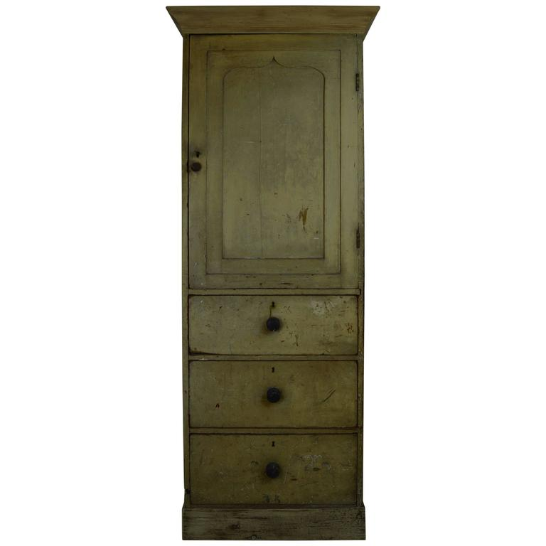 Antique Pale Yellow Painted Cupboard, English, 19th Century