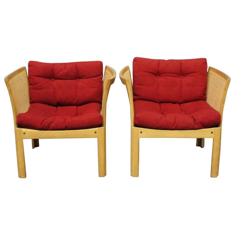Pair of Easy Chairs in Oak Designed by Rud Thygesen and Johnny Sørensen, 1960s