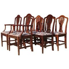 18th Century George III Mahogany Set of Eight Dining Chairs