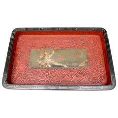 Japanese Lacquered Red & Black Tray with a Central Painting Signed by the Artist