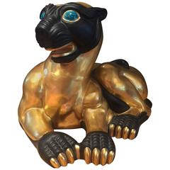 Rare Gilded and Glazed Porcelain Cat by Manifattura Artistica Porcellane