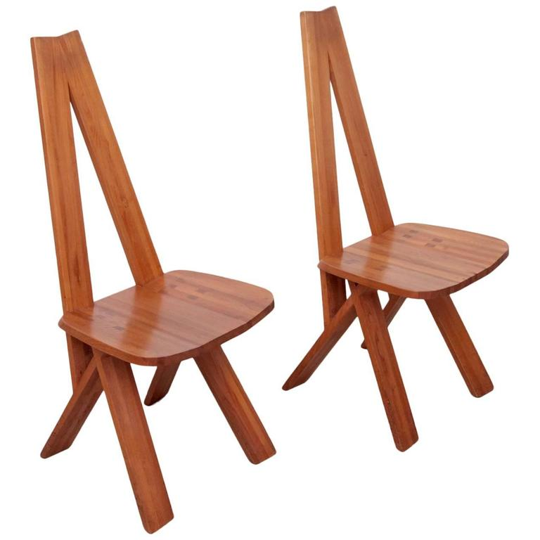 One Pair of Two Pierre Chapo S45 Chairs in Solid Elm