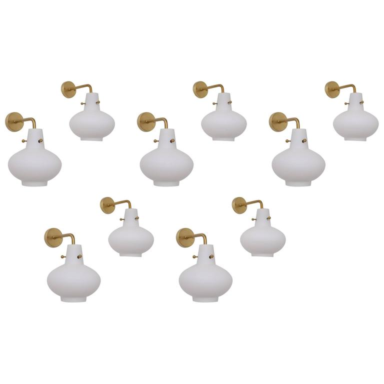 Rare Set of Ten Wall Lamps by Hans Bergström For Sale