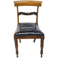 English Regency Rosewood Chair with Black Leather Upholstery, circa 1830
