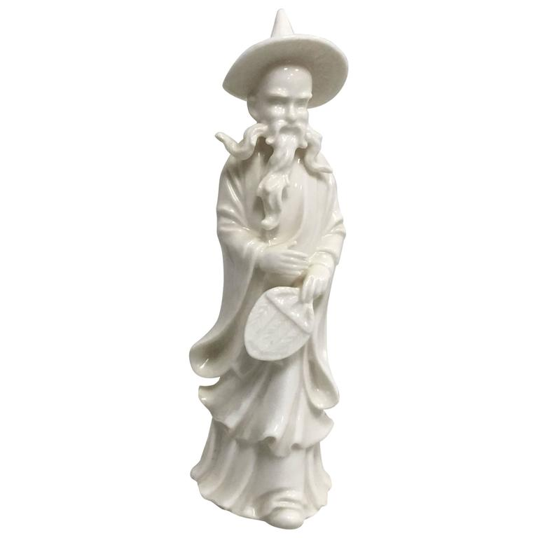 1950s Blanc de Chine Asian God Statue